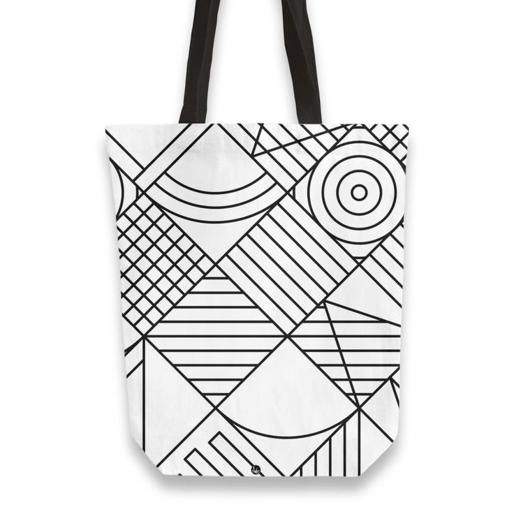 'Whackadoodle BW' Tote Bags by fimbis on miPic  ____________________________ geometric, black and white, monochrome, fashion, fashionista, style, inspiration, minimal, art, shopping, inspiration, school, back to school,