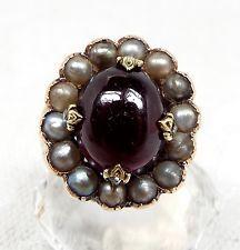 Старинный викторианский красный гранат жемчуга и бриллиантов огранки Rose в кластер кольцо/размер l