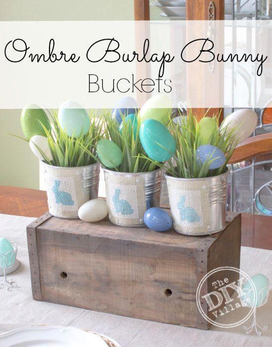Ombre Easter bunny bucket centerpiece