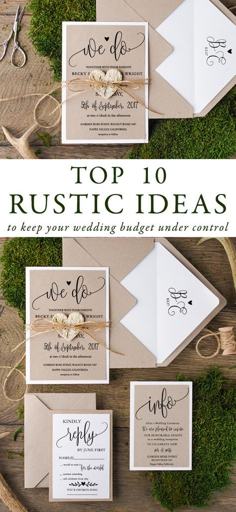 Looking to find a way to keep your costs down while still getting that great rustic wedding look? Nothing simpler! We have for you top 10 rustic ideas to keep your budget under control. Rustic style is still one of the favourite trend choosing by the brides. Very romantic and chic, can be incorporated to any wedding theme! #wedding #rustic