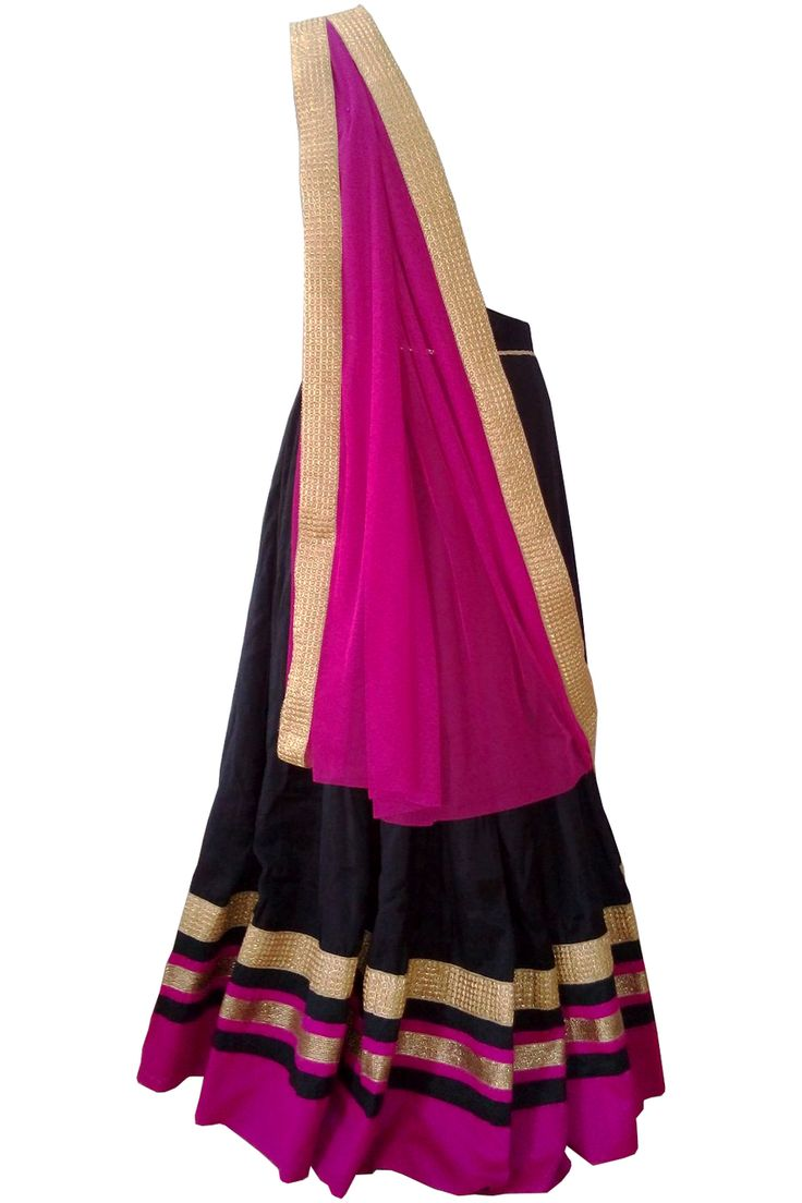 Pink and Black silk A line ghagra with pink dupatta by Indian fashion designer label Shefali's Studio on Scarlet Bindi #fashion #indianfashion #ghagra