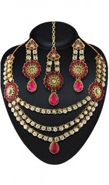 Pink Color American Diamond Work Artificial Jewellery Necklaces Set   FH500676598 Follow us @heenastyle  #Necklace #onlineshopping #necklaceset #forsale #gold #artificial #goldplated #designs #fashion #jewelry #fashionjewellry #accessories #womenfashion #pendentset #earing #jumkis #bangle #bracelets #mangalsutra #tikka #headpieces #handbags #cluethesbeg #ring #indianfashion #fashionista #anklets #bridelset #weddingset #dimondset #brass #metal #heenastylenecless #heenastyle