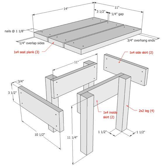 DIY wood stool drawings