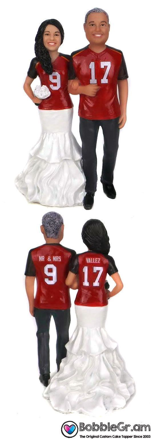 Your custom sculpted faces and hairstyles on our fully custom painted football themed wedding cake toppers.  The jerseys are custom painted with your choice of colors, logos, names and numbers.  Shown with Tampa Bay Buccaneers jerseys.