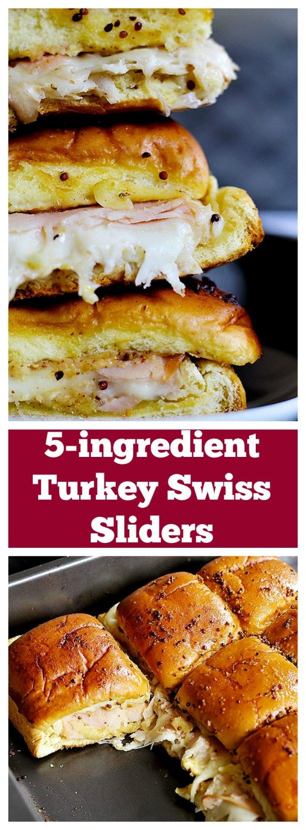 These 5-ingredient Turkey Swiss Sliders are easy and perfect for parties, game days, or any other gatherings! Ooey gooey cheese and delicious smoked turkey make a wonderful combination!