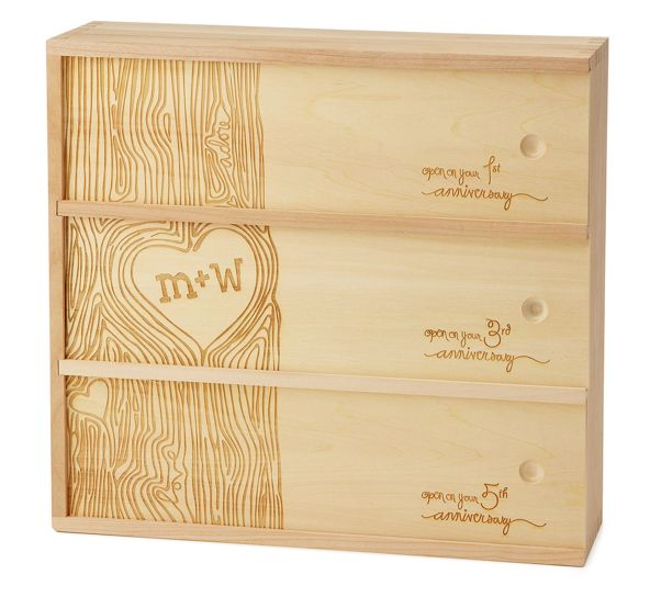 great wedding gift idea - wine box (just add wine) for them to open on anniversaries