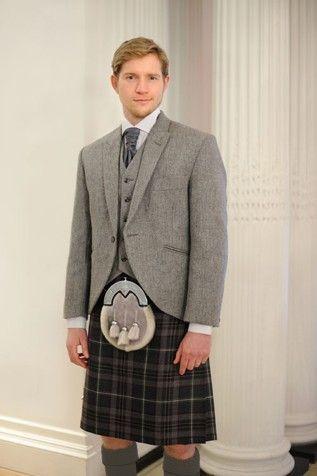 Maybe a look like this.  Lomond Tweed Kilt Hire >> for the Mr. To be worn with MacGregor Tartan (Modern or Hunting). £125 hire fee.