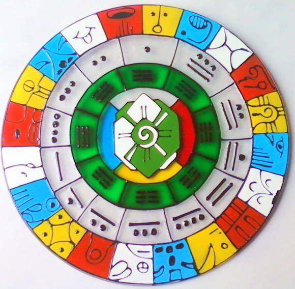 Vidro de 20cm de diâmetro, com gancho de metal para ser pendurado na parede.    O calendário Maya é um sistema baseado na sincronização de dois ciclos, um ano de 365 dias e um ano sagrado de 260 dias.    Este símbolo representa a interação do tempo humano e do tempo cósmico e seu significado tran...