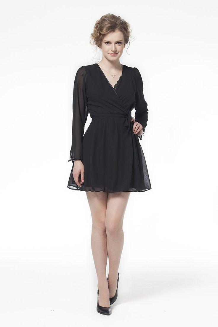 Kruvaze Siyah Elbise Elbise En Trend Elbiseler 54,90 TL