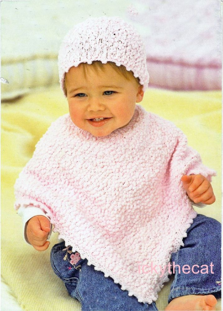 Digital Download Pdf Vintage Knitting Pattern Baby S Child Poncho