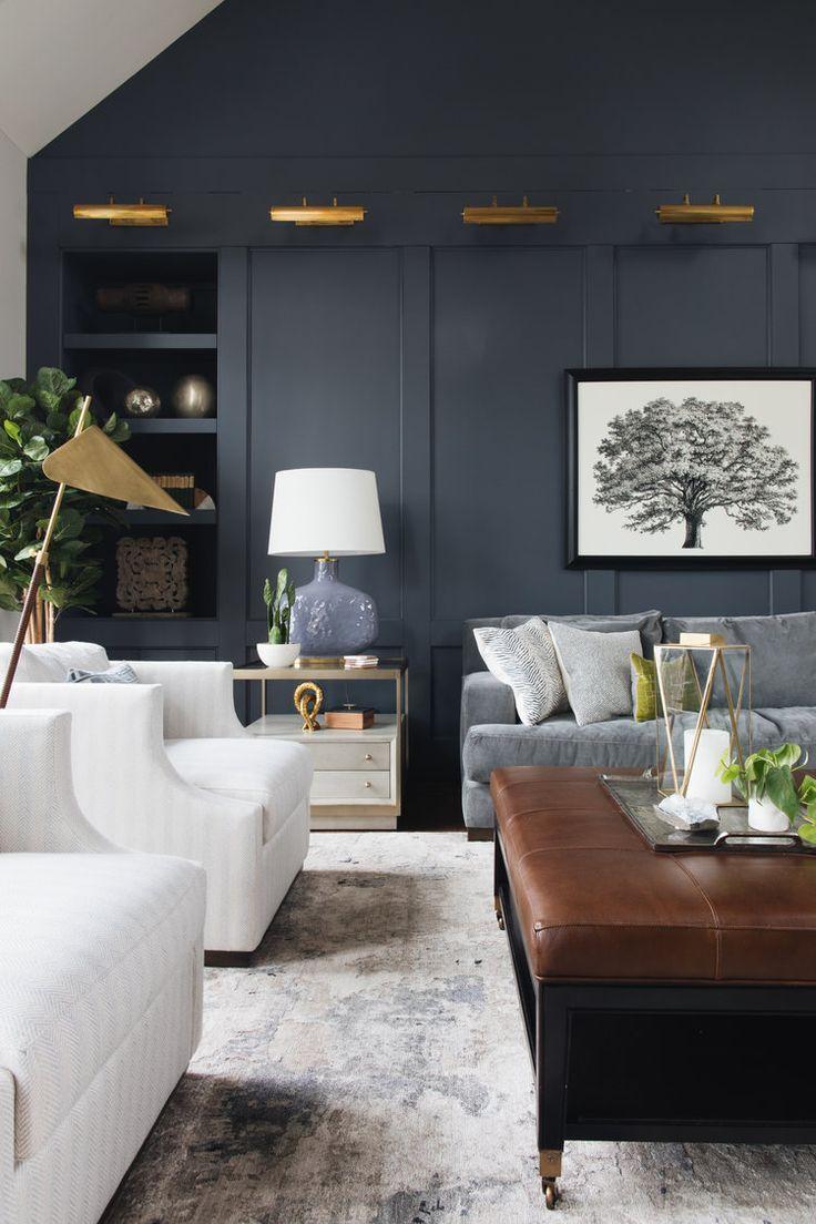 Dark Moody Living Room Dark Navy Gray Wall Brass Lights
