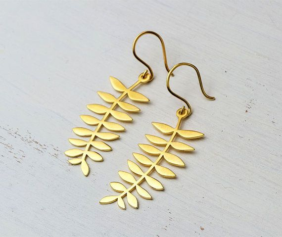 Gold Leaf Earring Fern Dangle Earrings Autumn leaf Gold plated