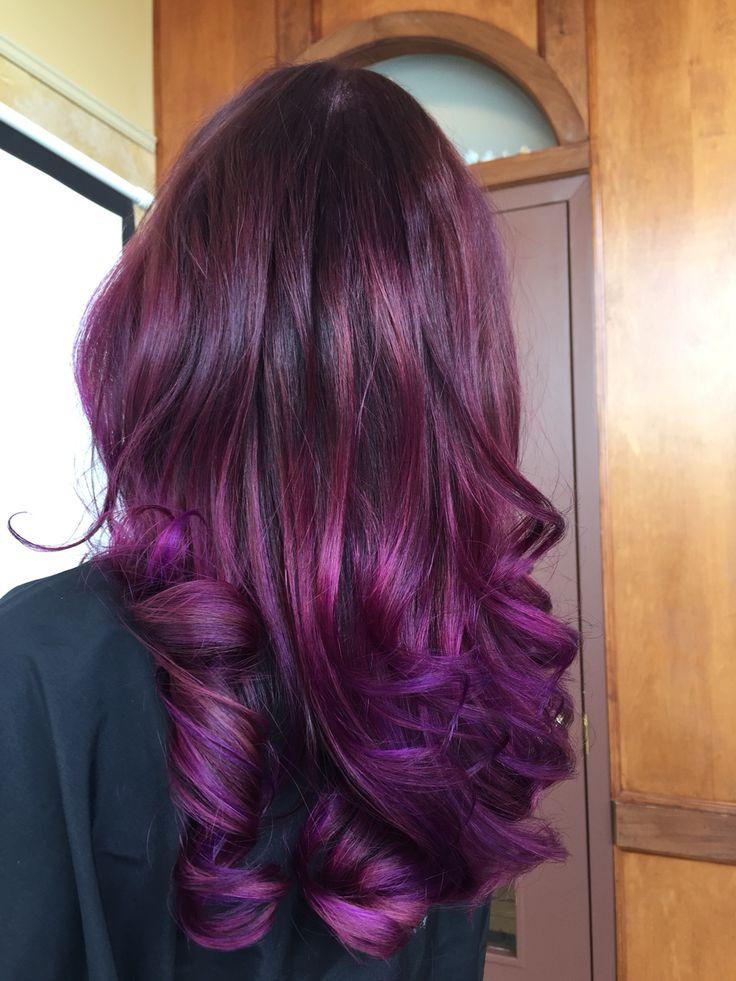 Dark purple base into shades of light purple and dark purple balayage Andrea@profilo #profilodayspa