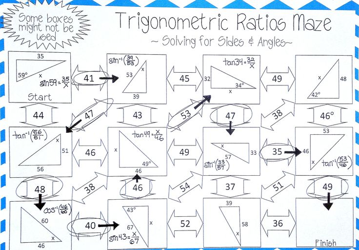 Trigonometric Ratios Sine Cosine Tangent Maze Solving For Sides Angles Practices Worksheets Geometry Lessons Geometry Worksheets