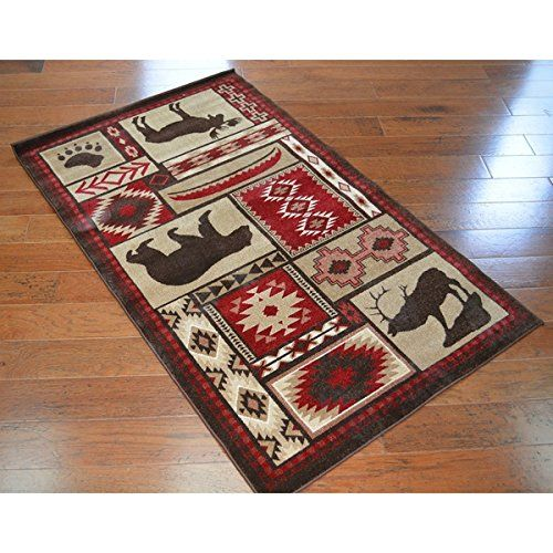 Wildlife Bear Moose Deer Area Rug, Hunting Themed Floor Mat, Rustic Lodge Cottage Carpet Pattern, Southwestern Style Cabin Design, Wild Game, Red Brown White, Olefin, 3'3 X 5'3 ** You can find out more details at the link of the image. (This is an affiliate link and I receive a commission for the sales)