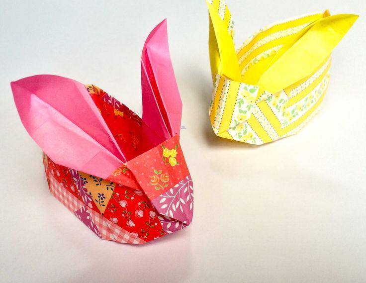 **** 折り紙 うさぎ 箱 Origami Easter Bunny Basket