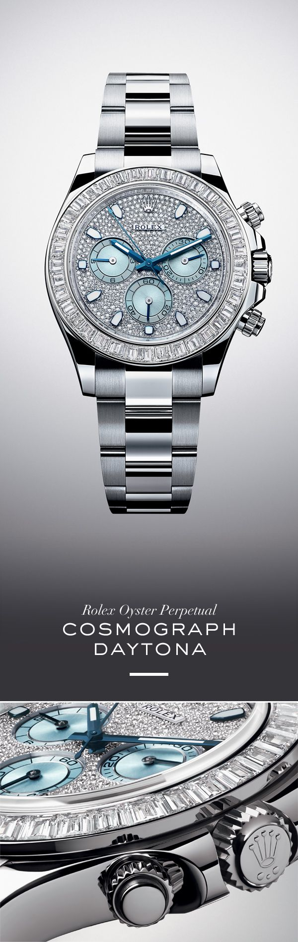 The new Rolex Cosmograph Daytona 40 mm in 950 platinum with diamond-set bezel, a diamond-paved ice blue dial and Oyster bracelet. | Rolex