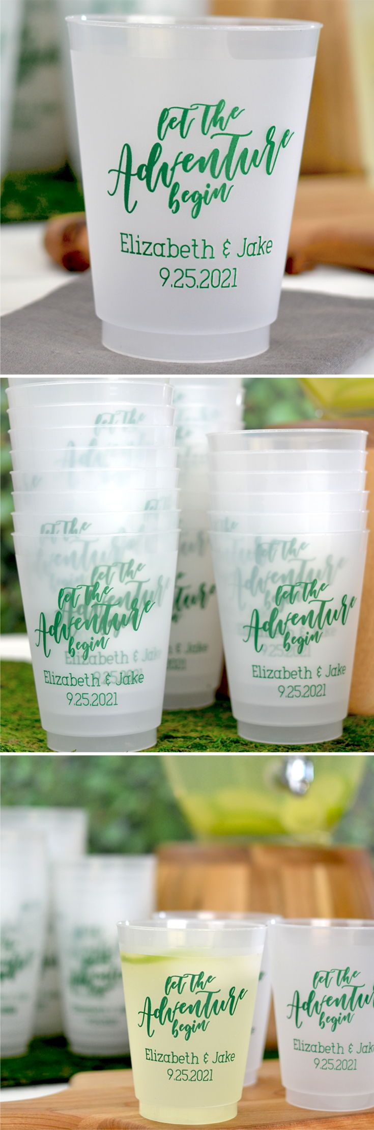 Wedding Cups - Add personality to your wedding drink station with personalized favor cups. 16 ounce size favor cups are most commonly used for serving beer and soft drinks. Stack cups at your self-serve drink station so guests can help themselves. Stock your bar with souvenir cups for serving beer and large mixed drinks. Encourage guests to take their cups home as wedding souvenirs. These cups can be ordered at…
