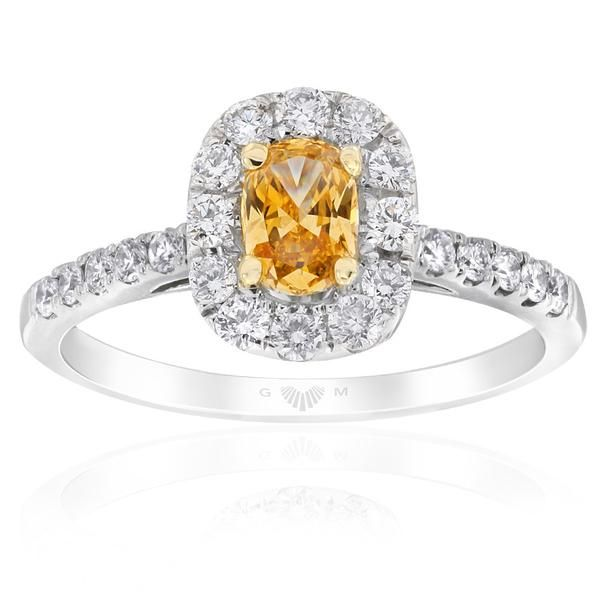Echunga New Rush Hill diamond ring featuring an Apricot flavoured* centre diamond surrounded by sparkling white diamonds in…