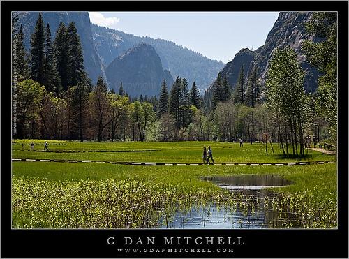 Hikers in Chapel Meadow - Yosemite Valley by G Dan Mitchell, via Flickr