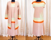 1920's Dress // Wool Color Block Flapper Dress with Matching Coat