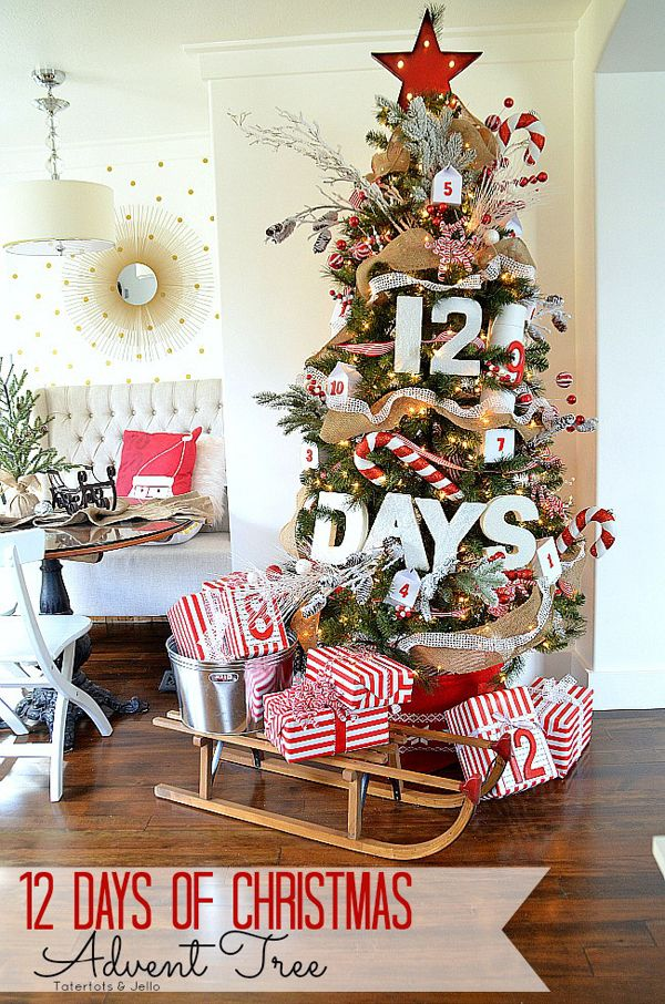 12 days of Christmas Advent Tree. See 15 Amazing Christmas Trees on www.prettymyparty.com.
