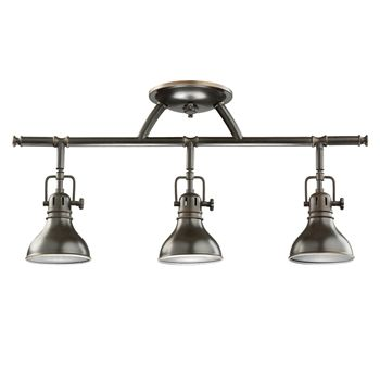 Contemporary track lighting kit supports 3 sleek track heads to deliver lighting where you need it.