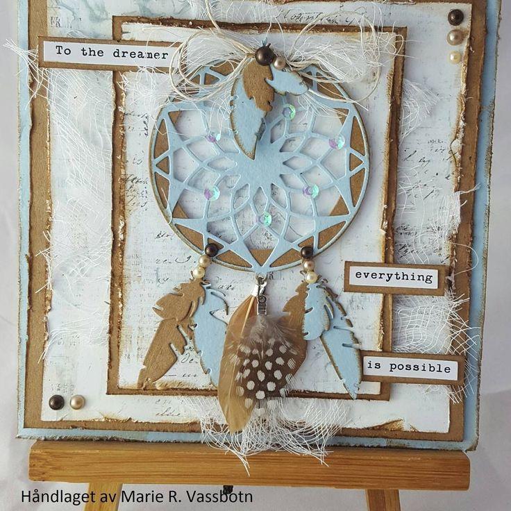 Nytt kort med #drømmefanger 😊 #scrapping #kortlaging #mariannedesign #dies #scrapomania #papercraft #paper