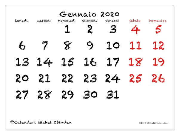 Mini Calendario 2020 Da Stampare.Calendario Gennaio 2020 46ld Calendario Calendario