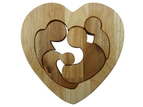 Q Toys Family Love Puzzle - Tumble & Roll Educational Toys. The puzzle has 4 individual pieces depicting the family encased within a wooden heart frame. Suitable for Children 12months +. $10.00 #educationaltoys #puzzletoys #kids