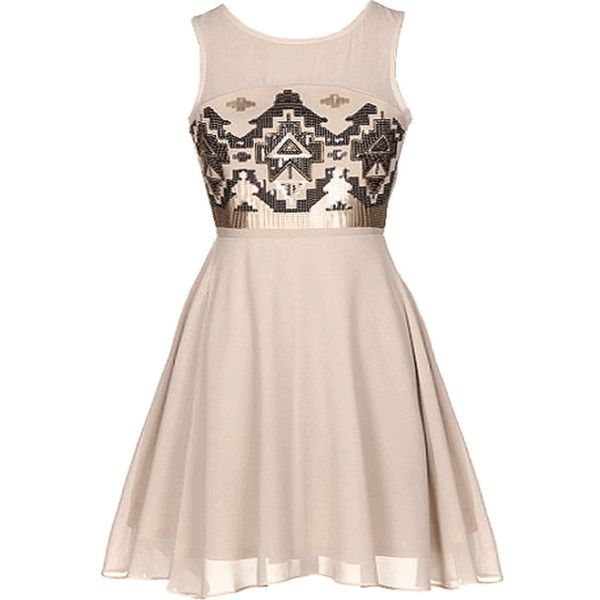 Sequin Aztec Skater Dress | HGD118 found on Polyvore