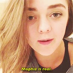 "Maisie Williams and Sophie Turner declare ""Mophie"" lives on. gif."