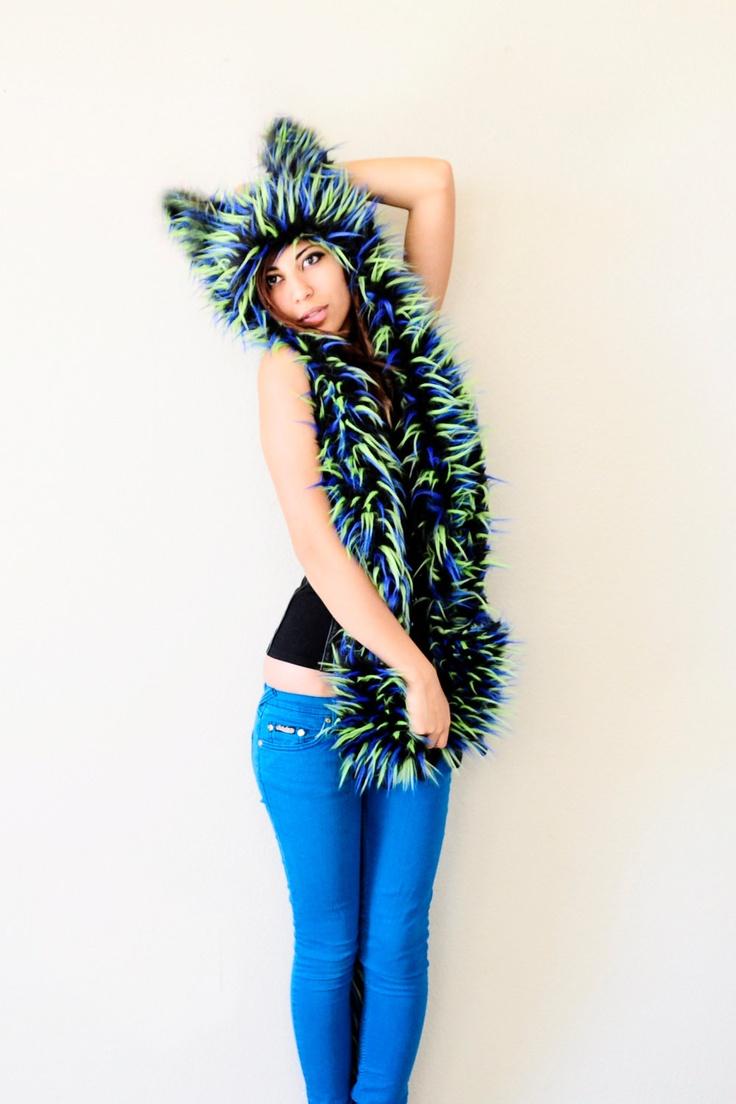 Dress up laundry kebon jeruk - Electric Blue Neon Green Cat Monster Faux Fur Hood Animal Ear