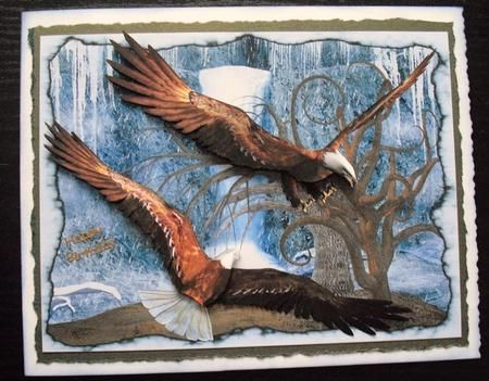 The Frozen Waterfall and Eagle Decoupage on Craftsuprint created by Lesley Earing - I printed off the design onto crafty Bob's premium matte photo paper then cut out all of the pieces.  I matte and layered the main bit of the design onto some brown paper torn roughly then attached it to a white card blank. I ran some blue distress ink around the edge of the card. The smaller elements were decopauged on using silicone glue.