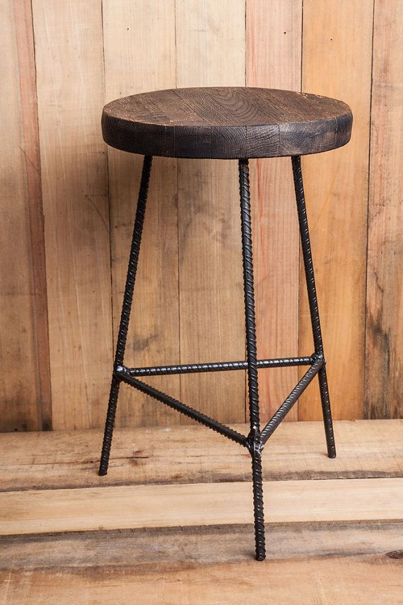 Solid steel rebar stools. Seat Materials will vary, but all will have same finish; they are attached with steel flat bar and solid brass screws.