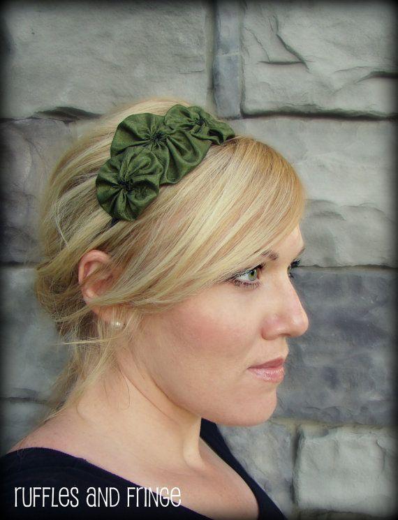 Olive Green Handmade Flower Hair Band  Rosette by RufflesAndFringe, $13.00