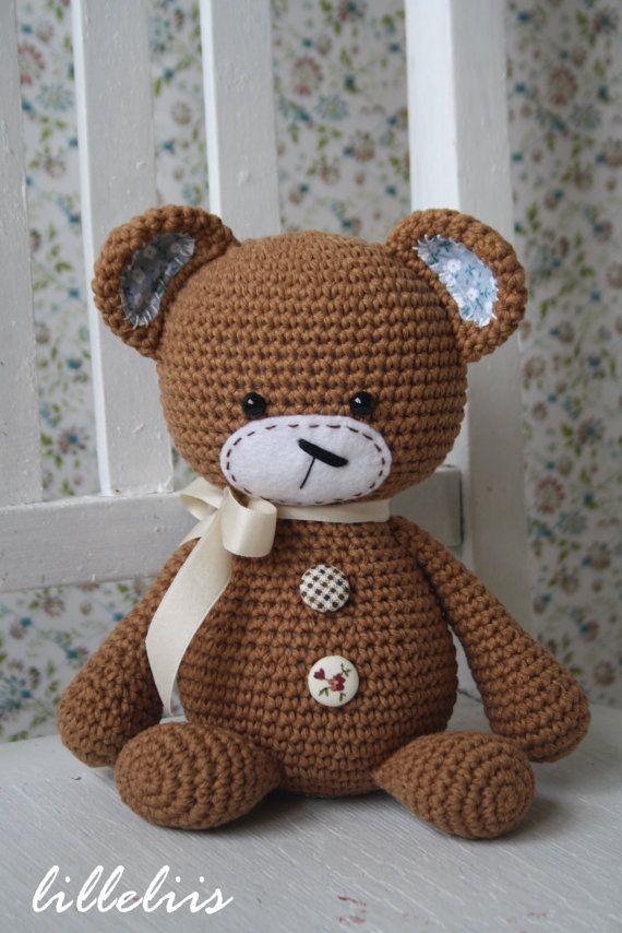 Smuglybear  amigurumi teddy crochet toy by lilleliis on Etsy, $42.00