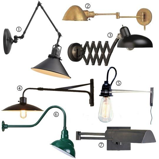 Bedside Essentials: Warm industrial Wall Lamps from @Apartment Therapy featuring Lamps Plus #lighting #walllamps