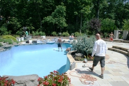 The remodeling of a gunite swimming pool could be challenging and also expensive if the proper procedure is not taken. An old gunite swimming pool is usually well landscaped and in the pool needs to be remodeled the landscape around it could be compromised.The patio would defiantly need to be redone because in many cases is as old as the gunite swimming pool and the coping would also be re installed and in many cases new coping stones to match the new patio pavers are selected