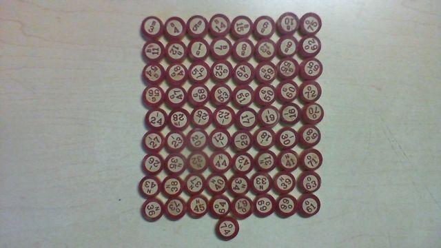 72 Vintage Wood Wooden Bingo Calling Numbers Milton Bradley BX2 #MiltonBradley