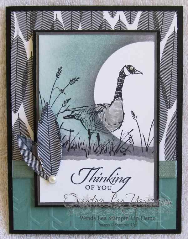 Wetlands thinking of you, SU cards, masking, sponging, masculine, by Wendy Lee, #creativeleeyours, Stampin Up!,