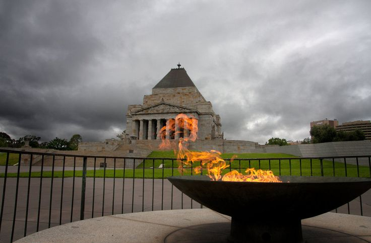 Shrine of Remembrance with Eternal Flame , Melbourne