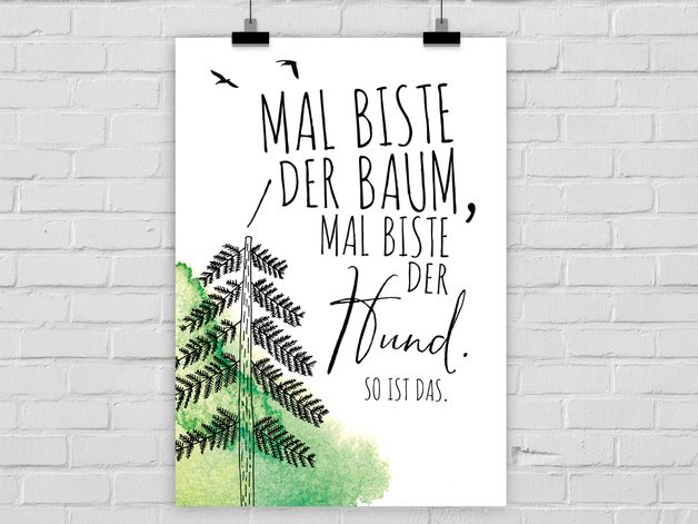Witziges Poster für Optimisten und Pessimisten, Motivation, Wanddeko / art print with motivational quote made by Prints Eisenherz via DaWanda.com