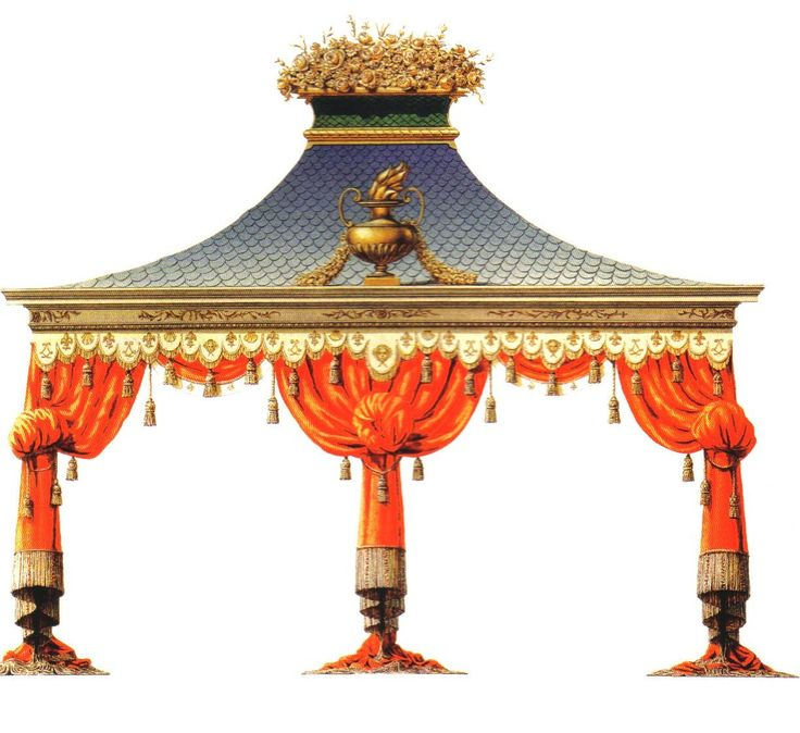Refreshment Tent for Versailles. Another project that was never built, this charming tent was designed in 1779. ( from Chinoiseries by Bernd H. Dams and Andrew Zega, Rizzoli New York, 2008)