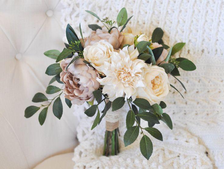 Ramo de la vendimia | Cream & Taupe Mauve | Rosas, peonías, dalias, eucaliptos sembrados …