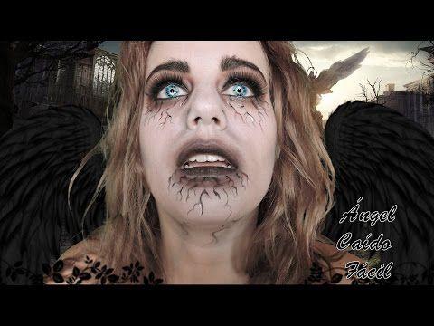 Ángel Caído Sencillo Maquillaje de Terror, Maquillaje de Halloween - YouTube