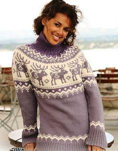 """Классический свитер спицами с рисунком """"Олени"""". Свяжу когда-нибудь себе такой"""