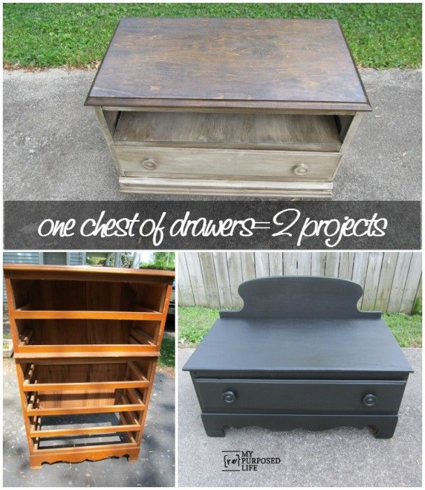 How to cut down a chest of drawers in order to make 2 useful projects.