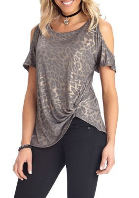 Democracy Women's Foil Knit Cold-Shoulder Sleeve Top - Smokey Copper - Xs