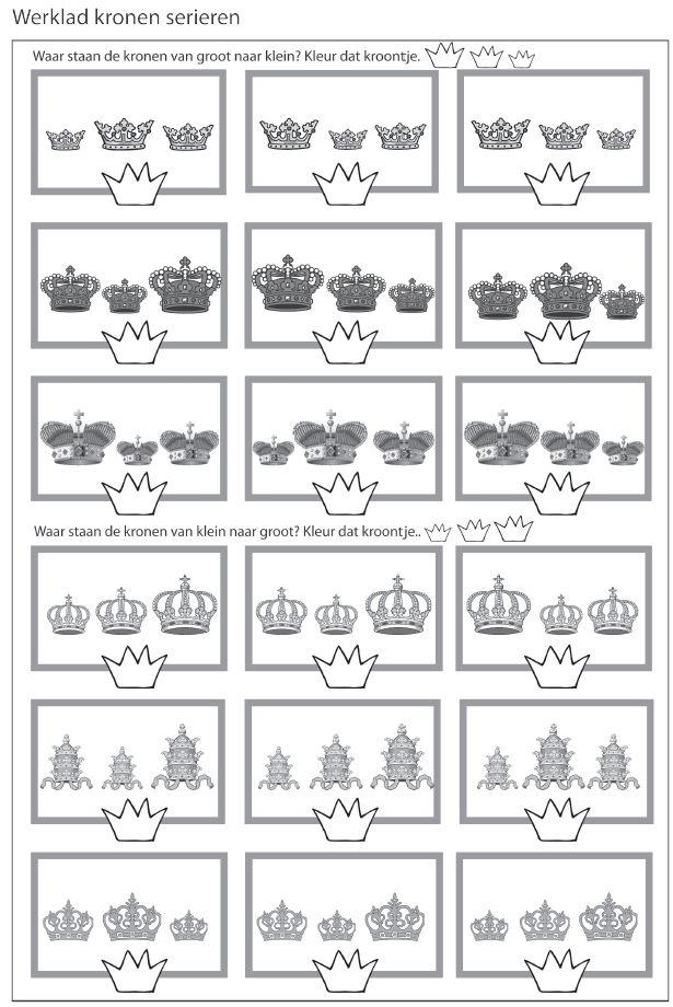 Kronen seriëren - Waar staan de kronen van groot naar klein? Kleur daar dat kroontje. [Juf Marije]